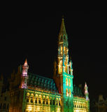 Grand plavce in brussels at night. Night illumination of medieval tower on Grand Place in Brussels, Belgium Royalty Free Stock Photography