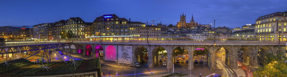Grand-Pont and cathedral of Notre Dame, Lausanne, Stock Photos