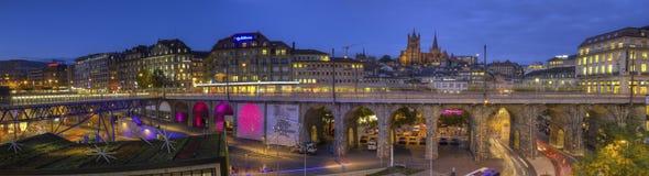 Grand-Pont och domkyrka av Notre Dame, Lausanne, Arkivfoton