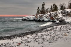 Grand Portage Indian Reservation during Winter on the Shores of Lake Superior in Minnesota on the Canadian Border stock image