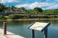 Grand portage national monument, lake superior. A view of grand portage national monument, from a dock on lake superior stock photography