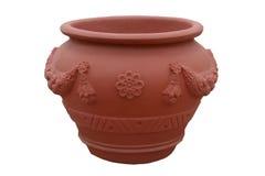 Grand pot de fleur en plastique orange d'isolement sur le fond blanc Pot de fleur avec l'ornement Images libres de droits