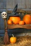 Grand potiron avec le chapeau et le balai noirs de sorcière Photos stock