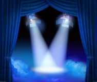 Grand premiere stage. Dramatic theatre stage with spotlights beams and color smoke Stock Photos