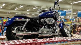 Grand price for motocycle for lucky customer stock footage