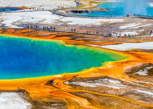 Grand Prismatic Explosion of Colors. Colorful overview of Gand Prismatic in Yellowstone National Park Royalty Free Stock Image