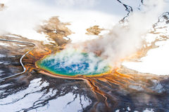 Grand Prismatic Hot Spring Aerial in Winter Royalty Free Stock Images