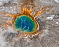 Grand prismatic hot spring colorful aerial Royalty Free Stock Photography