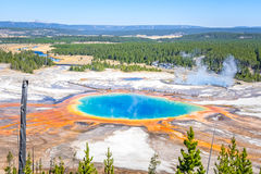 Grand Prismatic Hot Spring Yellowstone National Park. Grand Prismatic Hot Spring is the largest hot spring in Yellowstone National Park. Photo is taken from a Royalty Free Stock Images