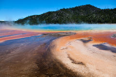 Grand Prismatic Hot Springs. Mud flats in Yellowstone National Park, Wyoming stock photos