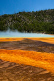 Grand Prismatic Hot Springs. Mud flats in Yellowstone National Park, Wyoming stock images