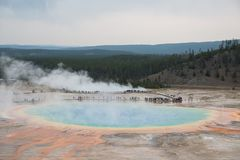 Grand Prismatic hot springs overlook in yellowstone stock image