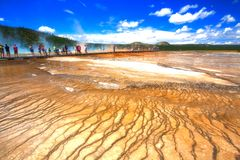 Grand Prismatic Spring in the Midway Geyser Basin in Yellowstone stock images