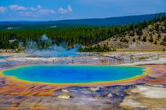 Natural Beauty and Patterns of the Grand Prismatic Spring, Yellowstone NP stock photography