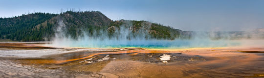 Grand Prismatic spring panorama, Yellowstone National Park Stock Photography