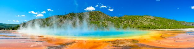 Grand Prismatic Spring Panoramic Image Stock Photo