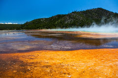 Grand Prismatic Spring, yellowstone. Grand Prismatic Hot Springs mud flats in Yellowstone National Park, Wyoming royalty free stock image