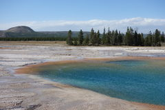 Grand Prismatic Spring in Yellowstone National Park. Blue Lake, Grand Prismatic Spring, Yellowstone National Park Royalty Free Stock Photos