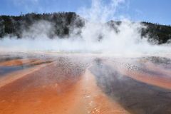 Grand Prismatic Spring in Yellowstone National Park. Orange and brown mineral bands, Grand Prismatic Spring, Yellowstone National Park Royalty Free Stock Images