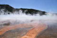 Grand Prismatic Spring in Yellowstone National Park. Orange and brown mineral bands, Grand Prismatic Spring in Yellowstone National Park Stock Images