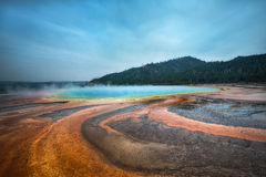Grand Prismatic Spring in Yellowstone National Park. Steam rising from the Grand Prismatic Spring in Yellowstone, Wyoming Royalty Free Stock Image