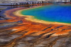 Grand Prismatic Spring Yellowstone National Park Tourists Viewing Spectacular Scene stock images