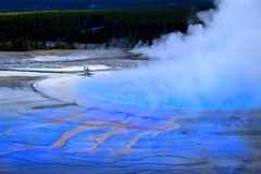 Grand Prismatic Spring Yellowstone National Park Tourists Viewin royalty free stock photo