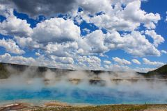 Grand Prismatic Spring. Yellowstone National Park, USA. Attraction, background, basin, beautiful, beauty, blue, color, colorful, colors, destination, fog royalty free stock image