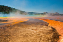 Grand Prismatic Spring in Yellowstone National Park. The World Famous Grand Prismatic Spring in Yellowstone National Park Stock Photo