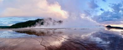 Grand Prismatic Spring of Yellowstone at sunset. Royalty Free Stock Image