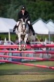 Grand Prix CSIO-W*** August 10, 2014 in Bratislava, Slovakia. BRATISLAVA, SLOVAKIA - AUGUST 10: de Coligny Geoffroy (FRA) on horse Qaid Louviere jumps over Stock Photo