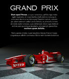 Grand prix. Customizable image with text and a sports race car with fake logos Stock Photos