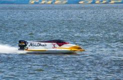 Grand Prix Formula 1 H2O. Powerboat number 6, Team Abu Dhabi  F1 fast speed, pilot Ahmed Al Hameli .Grand Prix Formula 1 H2O World Championship Powerboat on July Stock Images