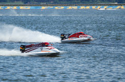Grand Prix Formula 1 H2O. Powerboat number 12 Qatar Team F1 fast speed , pilot Alex Carella .Grand Prix Formula 1 H2O World Championship Powerboat on July 29 Royalty Free Stock Photos