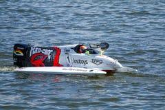Grand Prix Formula 1 H2O. Powerboat number 2 Team of Mad Croc F1 fast speed, pilot Sami Selio . Grand Prix Formula 1 H2O World Championship Powerboat on July 29 Stock Photos