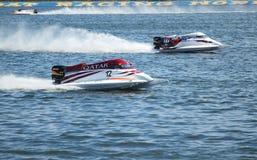 Grand Prix Formula 1 H2O. VYSHGOROD, UKRAINE - JULY 29 :Powerboat number 12 Qatar Team F1 fast speed , pilot Alex Carella . Grand Prix Formula 1 H2O World Royalty Free Stock Photo