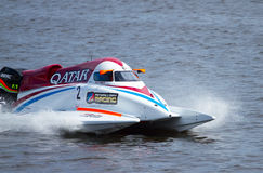 Grand Prix Formula 1 H2O. VYSHGOROD, UKRAINE - JULY 20 : Powerboat number 2 Qatar Team F1 fast speed , pilot Shaun Torrente. Grand Prix Formula 1 H2O World Royalty Free Stock Image