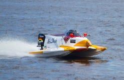 Grand Prix Formula 1 H2O World Championship. VYSHGOROD, UKRAINE - JULY 20 : Powerboat number 6, Team Abu Dhabi F1 fast speed, pilot Ahmed Al Hameli .Grand Prix Royalty Free Stock Photos