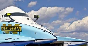 Grand Prix Formula 1 H2O World Championship Powerb. VYSHGOROD, UKRAINE - JULY 20 : Powerboat  Team of Waircom F1 fast speed, pilot Valerio Lagiannella . Grand Stock Image