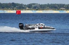 Grand Prix Formula 1 H2O World Championship. VYSHGOROD, UKRAINE - JULY 20 : Powerboat number 51 Mad-Croc Team F1 fast speed .l Grand Prix Formula 1 H2O World Royalty Free Stock Images