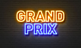 Grand prix neon sign on brick wall background. Stock Photography