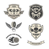 Grand prix racing  motorclub  emblems set isolated. Illustration Royalty Free Stock Photography