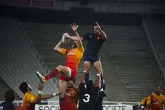 Grand prix series rugby 7 Barcelona 2011. England vs France England won touche Royalty Free Stock Images