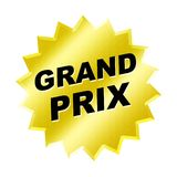 Grand Prix Sign. Yellow grand prix sign - web button - internet design Stock Images