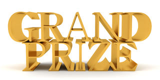 Grand prize golden text. Golden text on top of each other spelling Grand Prize Royalty Free Stock Photo