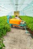 Grand pulvérisateur de pesticide en serre chaude photographie stock libre de droits