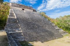 Grand Pyramid in the ancient Mayan city Uxmal, Mexi. Co stock photo