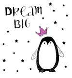 Grand rêveur Pingouin de bébé avec la couronne rose de scintillement illustration de vecteur