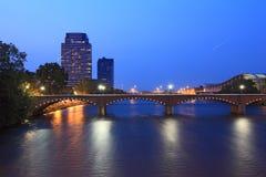 Grand Rapids Bridge. At dusk in Michigan summer time stock images