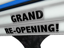 Grand Re-Opening Business New Look Refresh Remodel. Grand Re-Opening Sign advertising a business, store or restaurant that has been refreshed, remodeled or Royalty Free Stock Photography